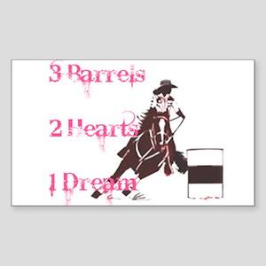 3 Barrels, 2 Hearts, 1 Dream Sticker (Rectangle)