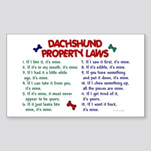 Dachshund Property Laws 2 Rectangle Sticker
