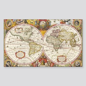Antique World Map Sticker (Rectangle)