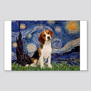 Starry Night & Beagle Pup Sticker (Rectangle)