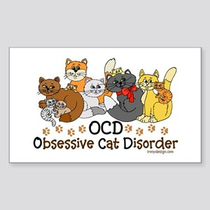 OCD Obsessive Cat Disorder Sticker (Rectangle)