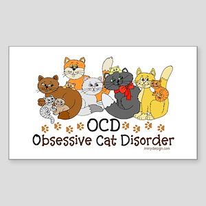 OCD Obsessive Cat Disorder Sticker (Rectangle)