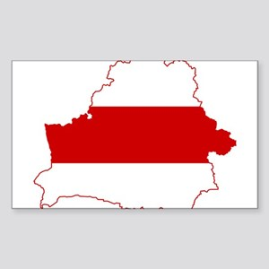 Belarus Flag and Map Sticker (Rectangle)