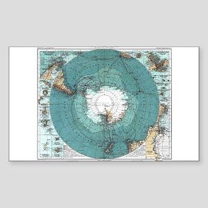 Vintage Antarctica Map Sticker