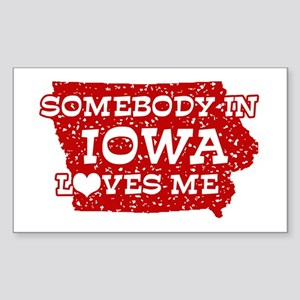 Somebody in Iowa Loves Me Rectangle Sticker