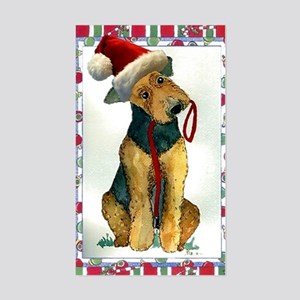 Airedale Terrier Dog Christmas Sticker (Rectangle)