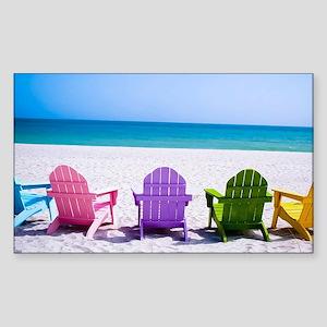 Lounge Chairs On Beach Sticker