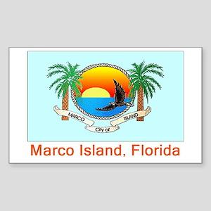 Marco Island FL Flag Rectangle Sticker