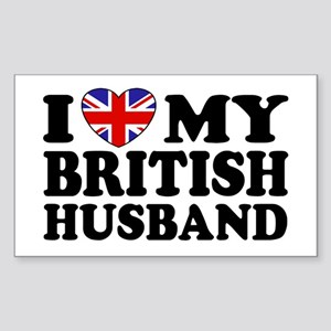I Love My British Husband Rectangle Sticker