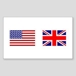 USA & Union Jack Rectangle Sticker