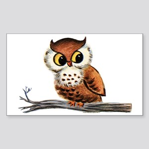 Vintage Owl Sticker (Rectangle)