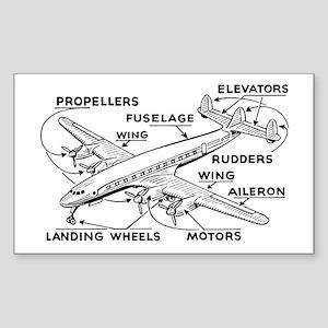 Aeroplane Diagram Rectangle Sticker