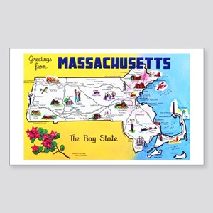 Massachussetts Map Greetings Sticker (Rectangle)