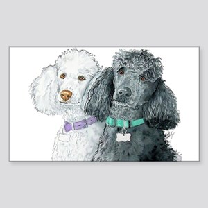 Two Poodles Sticker (Rectangle)