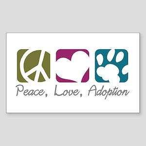 Peace, Love, Adoption Rectangle Sticker
