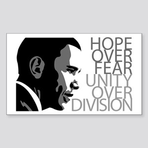 Obama - Hope Over Division - Grey Sticker (Rectang
