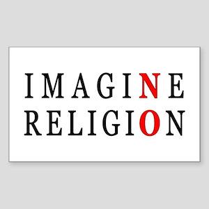 Imagine No Religion Rectangle Sticker