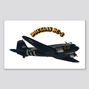 Douglas DC-3 With Text Sticker (Rectangle)