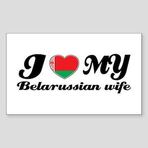 I love my Belarussian Wife Rectangle Sticker