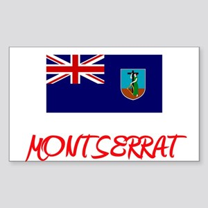 Montserrat Flag Artistic Red Design Sticker