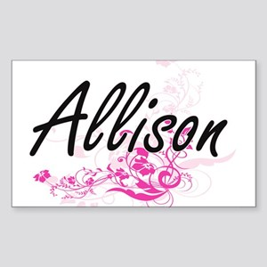 Allison Artistic Name Design with Flowers Sticker