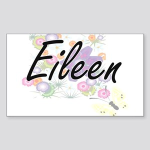 Eileen Artistic Name Design with Flowers Sticker