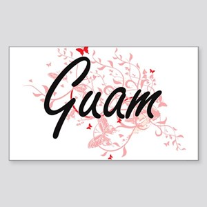 Guam Artistic Design with Butterflies Sticker