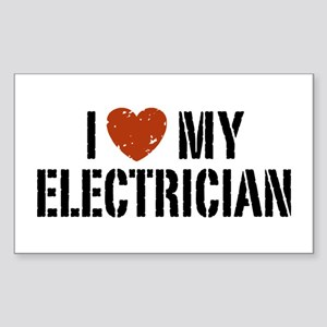 I Love My Electrician Rectangle Sticker