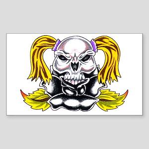 Pony Tail Skull Rose Rectangle Sticker