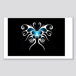 AA white butterfly Sticker (Rectangle)