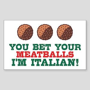 Funny Italian Meatballs Sticker (Rectangle)