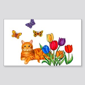 Orange Cat In Tulips Sticker