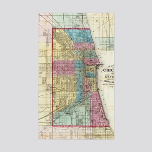 Vintage Map of Chicago (1869) Sticker (Rectangle)