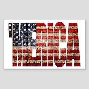 Vintage MERICA U.S. Flag Sticker (Rectangle)