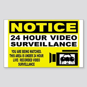Security Camera Warning Rectangle Sticker