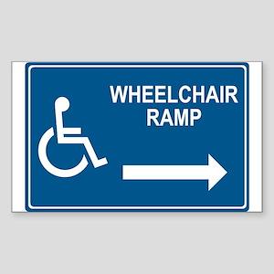 Wheelchair Ramp Notice Rectangle Sticker