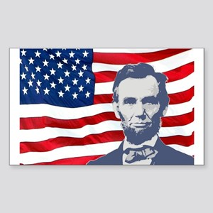 Lincoln With Flag Rectangle Sticker