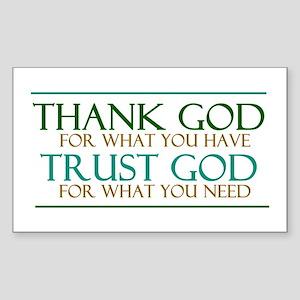 Thank God - Trust God Sticker (Rectangle)
