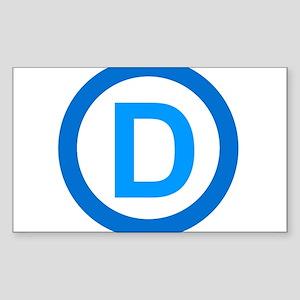 Democratic D Design Sticker (Rectangle)