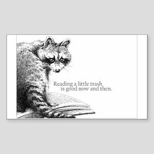Reading Raccoon Sticker (Rectangle)