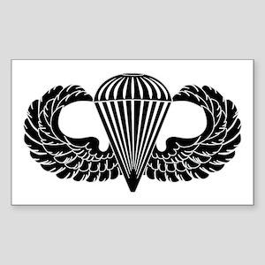 Parachutist -- B-W Sticker (Rectangle)