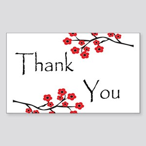 Red Cherry Blossoms Thank You Sticker (Rectang