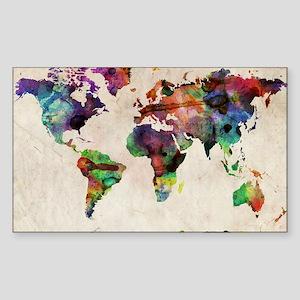 World Map Urban Watercolor 14x Sticker (Rectangle)