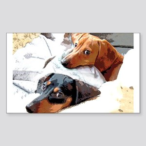 Naptime Doxies Rectangle Sticker