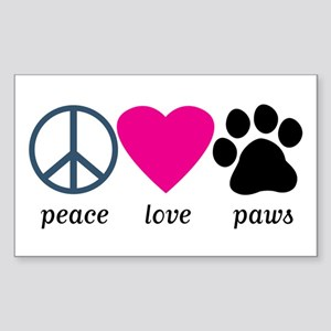 Peace Love Paws Sticker (Rectangle)