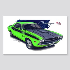 Dodge Challenger Green Car Rectangle Sticker