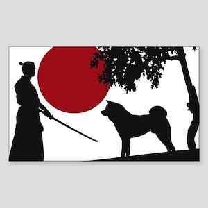 Akita Samurai Sticker (Rectangle)