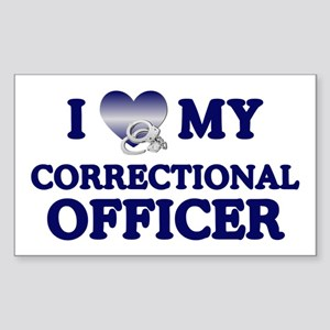 Love Correctional Officer Rectangle Sticker