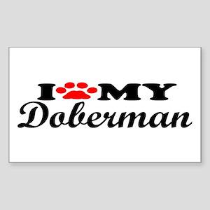 Doberman - I Love My Rectangle Sticker