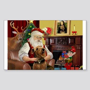 Santa and his Airedale Sticker (Rectangle)